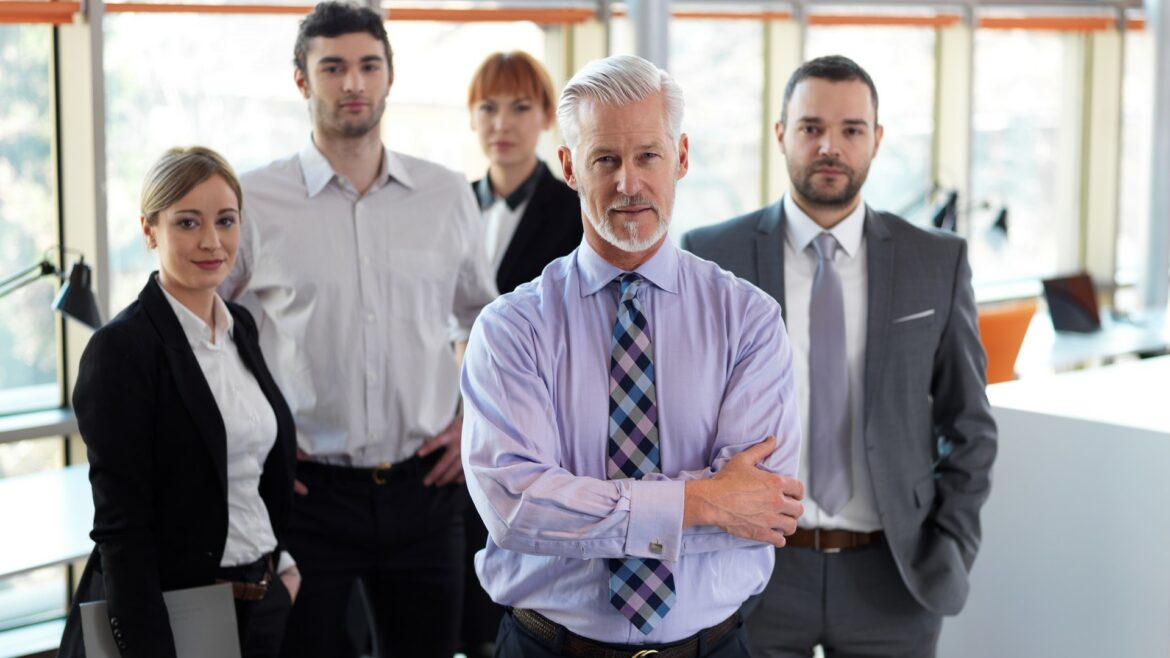 senior business man with his team at office